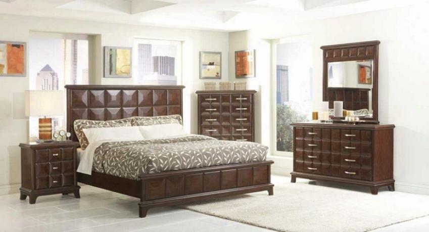 5pc Queen Size Bedroom Set Diamond Square Pattern In Dark Chocolate
