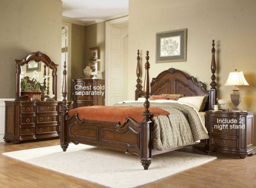 5pc Queen Size Bedroom Set With 2 Night Stand In Warm Brown