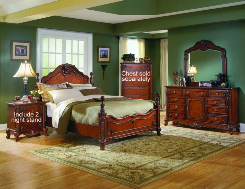 5pc Queen Size Bedroom Set With 2N ight Stand In Warm Cherry