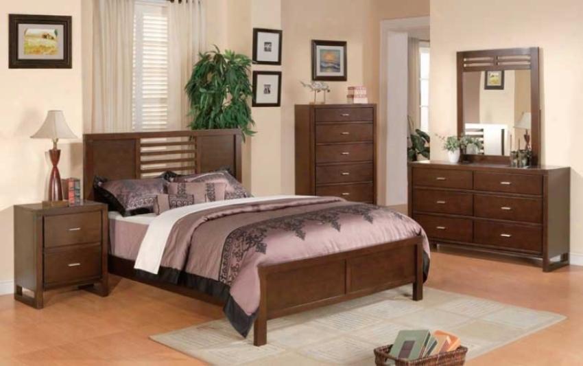 5pc Twin Size Bedroom Set Horizontal Slat Bed In Warm Brown