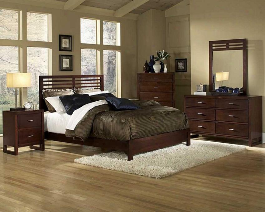 5pc Twin Size Bedroom Set Slat Design Bed In Cherry