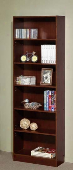 6-tier Bookcase Contemporary Causal Style In Walnut Finish