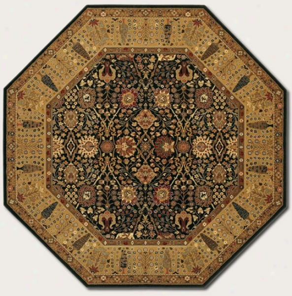 6'6&quot Octagon Area Rug Classic Persian Pattern In Black