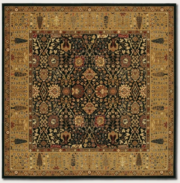 6'6&quot Square Area Rug Classic Persian Pattern In Black