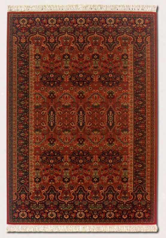 6'6&quot X 10'1&quot Area Rug Persian Pattern In Brick Red Color