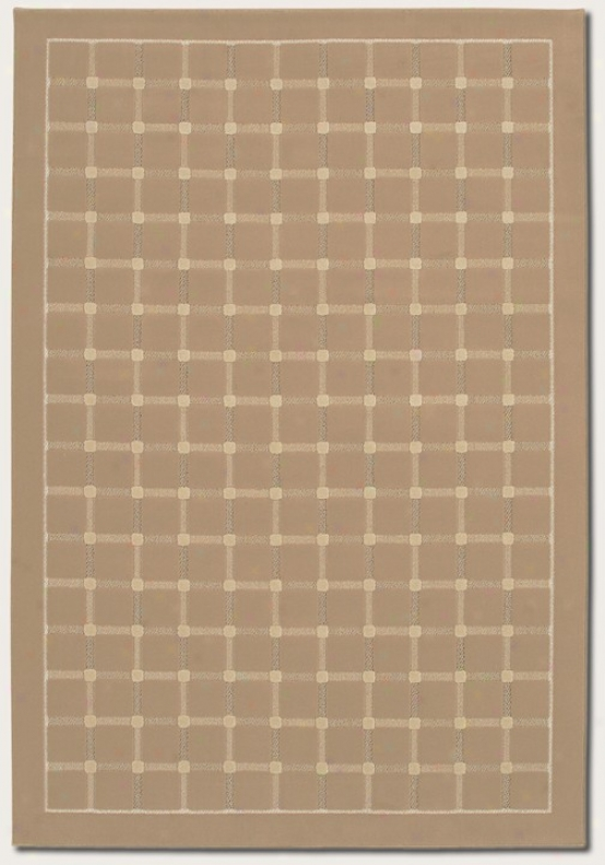 6'6&quot X 9'6&quot Area Rug Grid Pattern In Sahara Tan Color
