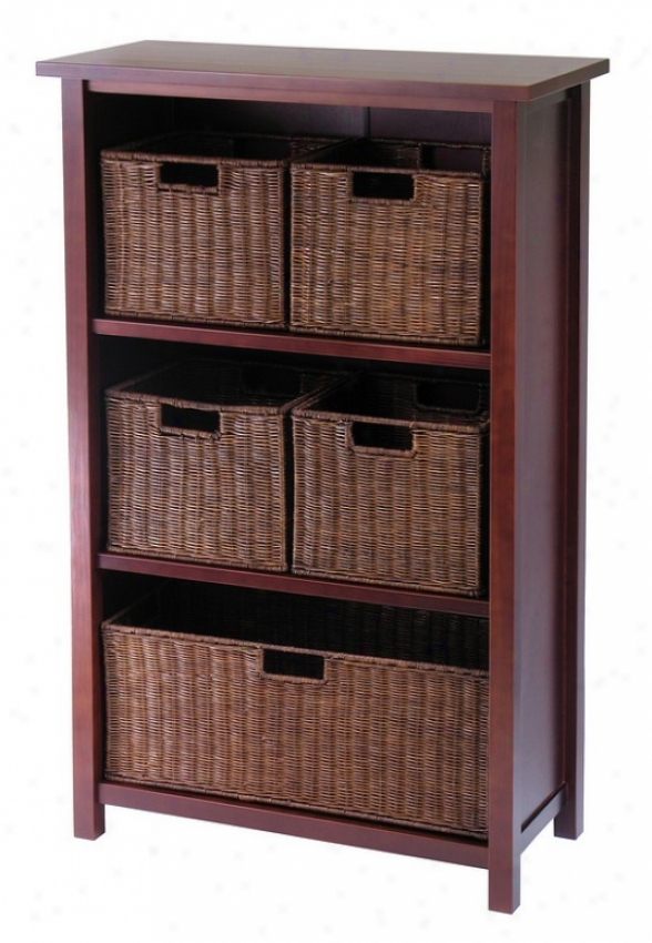 6pcs Milan Antique Walnut Finish Shelf With 5 Storage Baskets