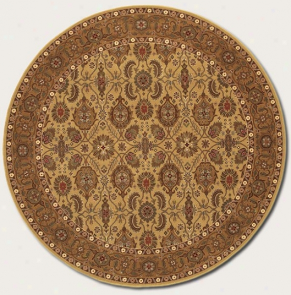 7'10&quot Round Area Rug Coassic Persian Pattern In Hazelnut