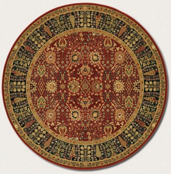 7'10&quot Round Area Rug Classic Persian Pattern In Persian Red
