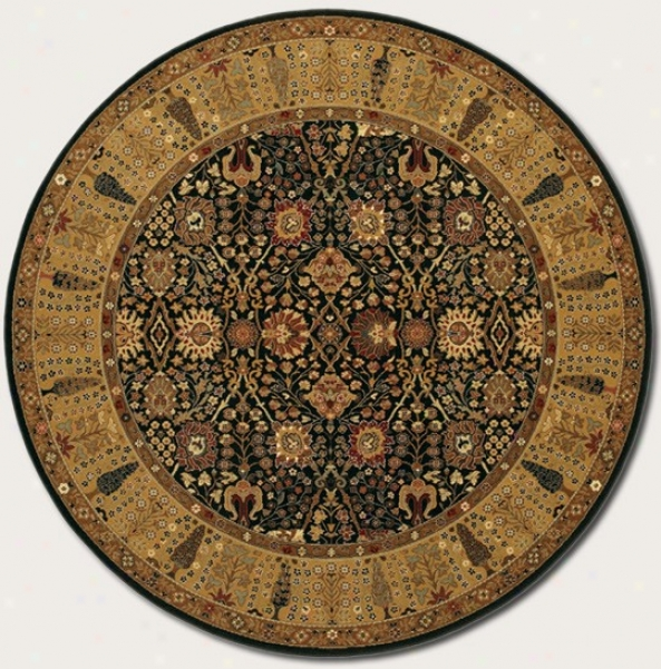 7'10&quot Round Area Rug Classic Persian Pattern In Black