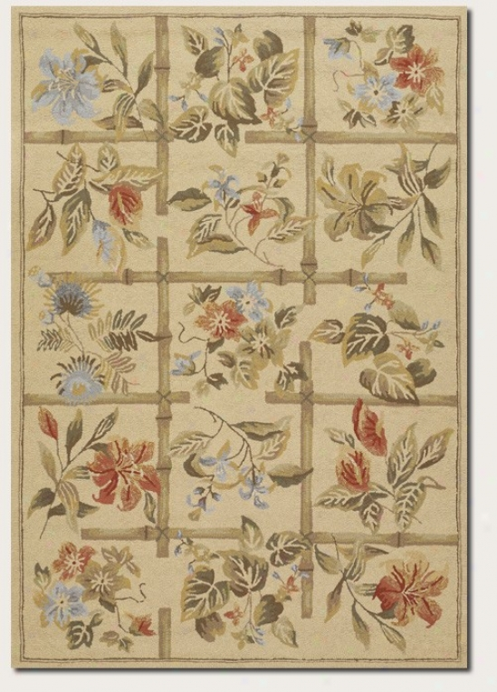 7'10&quot Full Area Rug Climber Floral Pattern In Sand Clor