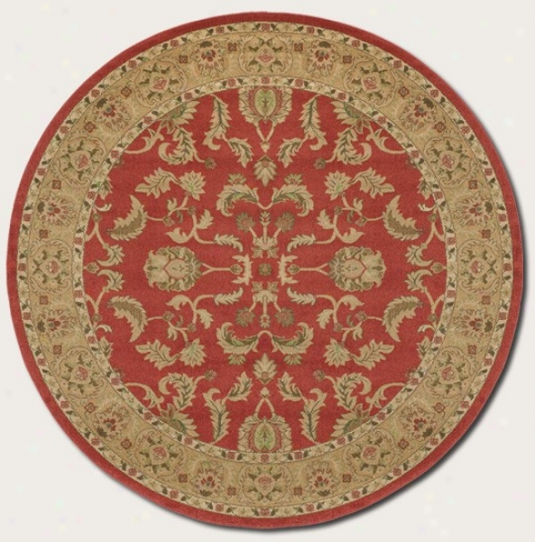 7'10&quot Round Area Rug Persian Imitate In Red Color