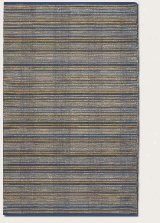 7'10&quot X 10'10&quot Area Rug Striped Pattern In Ocean Blue