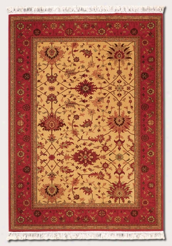7'10&quot X 10'3&quot Area Rug Persian Floral Specimen In Brick Red And Gold