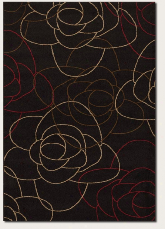 7'10&quot X 11'2&quot Area Rug Abstract Rose Pattern In Chocolate Brown