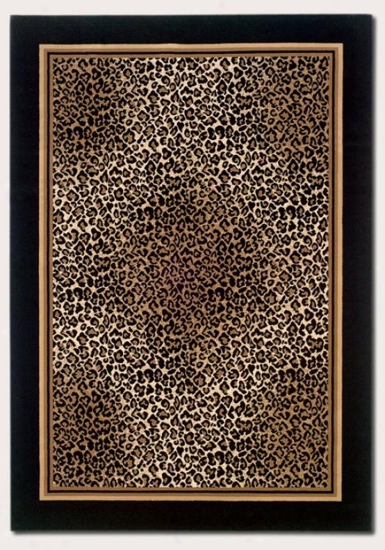 7'10&quot X 11'2&quot Area Rug Leopard Print With Black Border