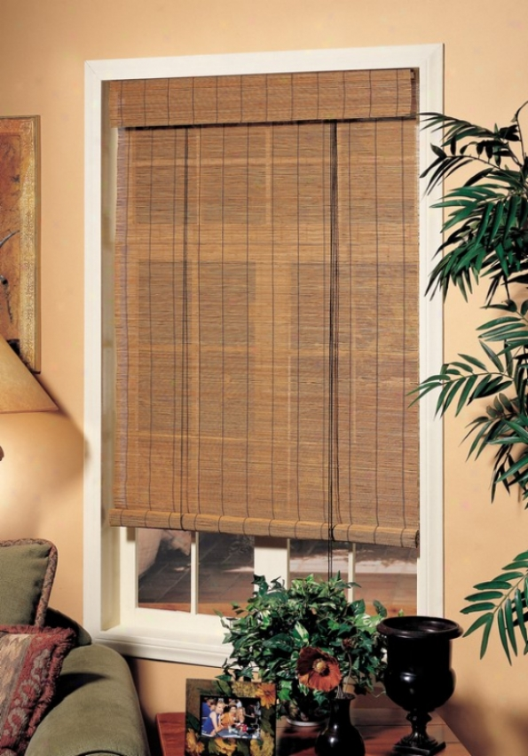 72&quotw Window Treatment Roll-up Blind Attending Valance In Fruitwood Matchstick Bamboo