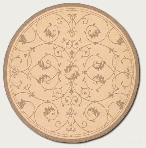 7'6&quot Round Area Rug Scroll Floral Design In Natural And Cocoa