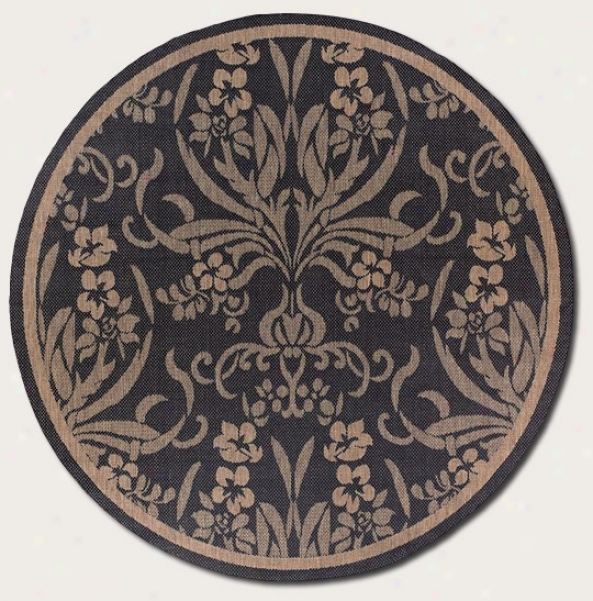 7'6&quot Round Area Rug Tapestry Design In Black And Cocoa