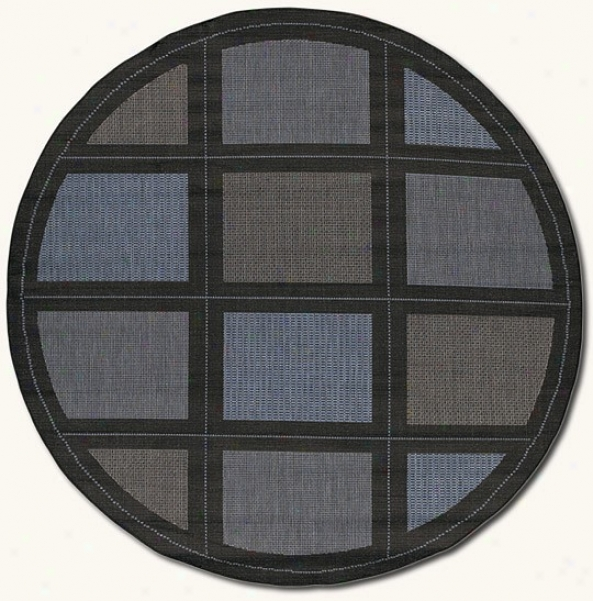 7'6&quot Round Summit Blue Black Indoor/outdoor Area Rug