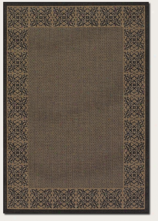 7'6&quot Square Area Rug Floral Pattern Border In Cocoa And Blacm