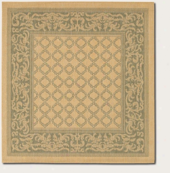 7'6&quot Square Area Rug Transitional Style With Green Border In Natuatl