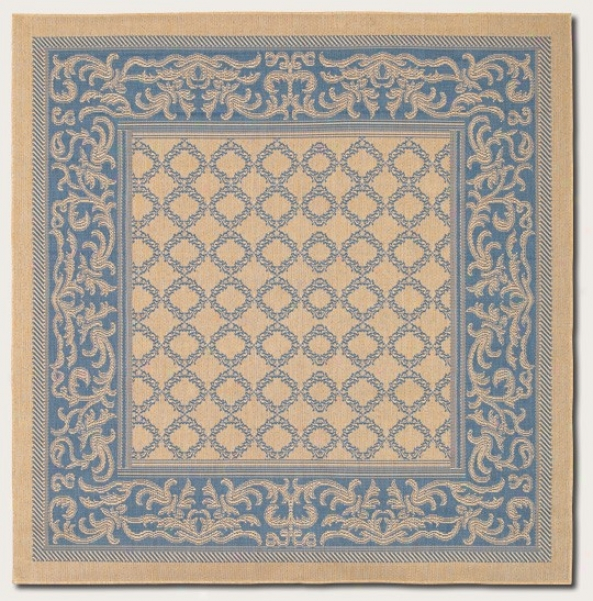 7'6&quot Square Area Rug Transitional Style With Blue Border In Natural