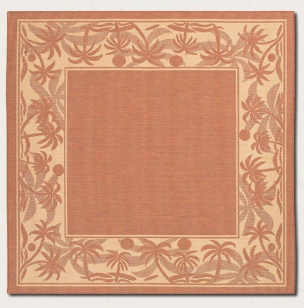 7'6&quot Square Superficial contents Rug With Palm Tree Sketch Border In Terra-cotta