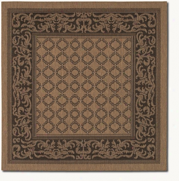 7'6&quot Square Garden Lattice Cocoa Black Indoor/outdoor Yard Rug