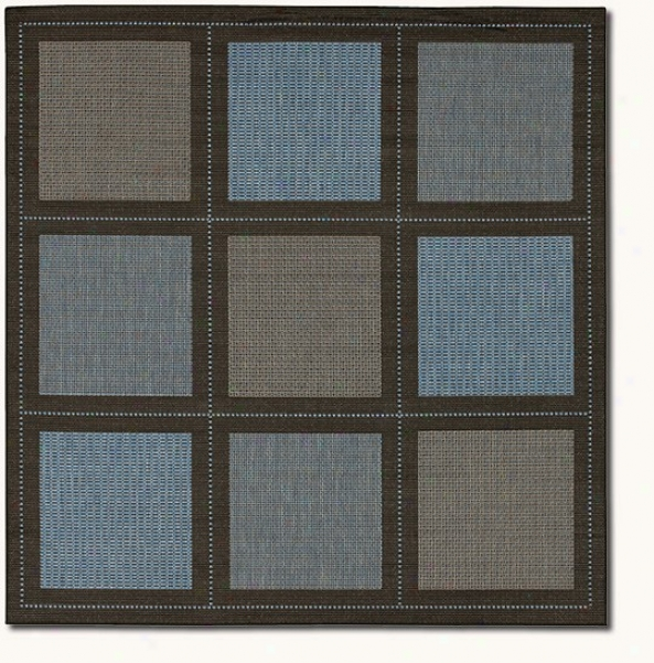 7'6&quot Square Summit Blue Black Indoor/outdoor Area Rug