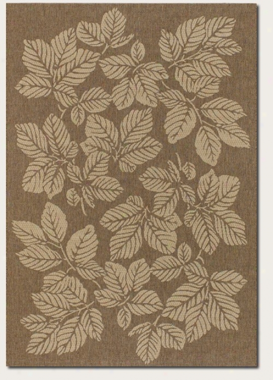 7'6&quot X 10'9&quot Area Rug Autumn Leaf Pattern In Gold And Cream