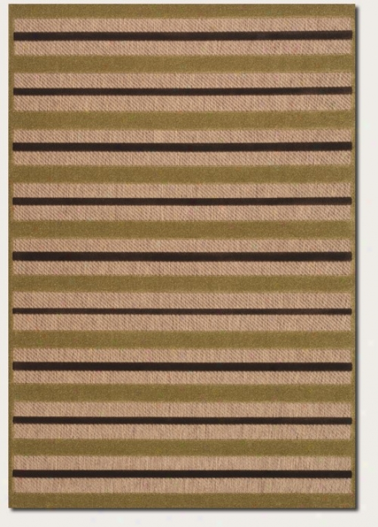 7'6&quot X 10'9&quot Area Rug Striped Design In Tan And Chocolate