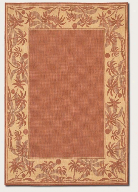 7'6&quot X 10'9&quot Area Rug With Palm Tree Intention Bprder In Terra-cotta