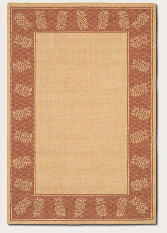 7'6&quot X 10'9&quot Area Rug With Pineapple Design Border In Natural