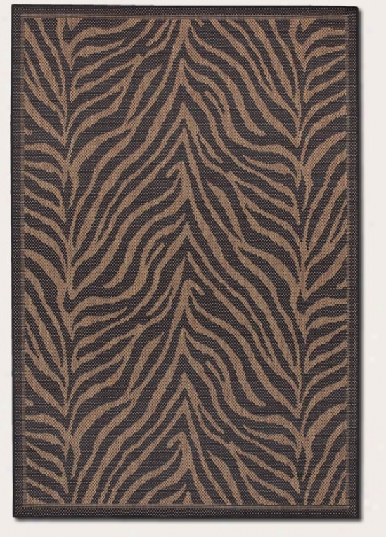 7'6&quot X 10'9&quot Area Rug Zebra Patyern In Black And Cocoa