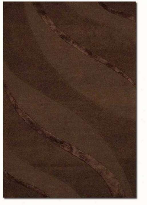 7'9&quot X 9'9&quot Contemporary Ribbons Carve Textured Cut Brown Area Rug