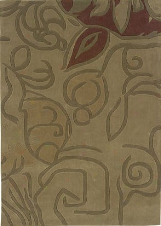 8' X 10' Areea Rug Abstract Flower In Beige And Olive