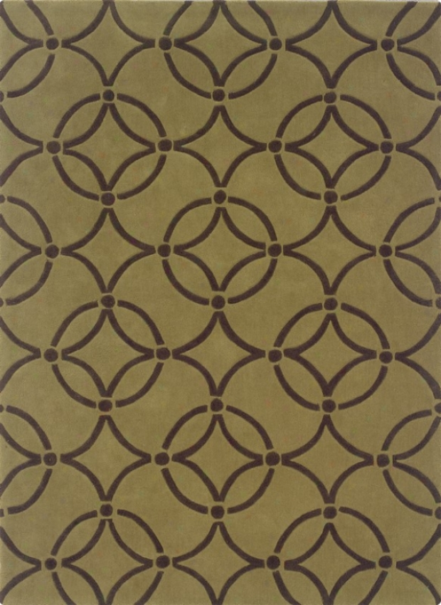 8' X 10' Area Rug Circles Pattern In Wasabi And Chocolate