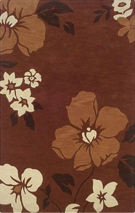 8' X 10' Arew Rug Flowers Pattern In Rust And Pumpkin