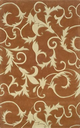 8' X 10' Area Rug Scroll Pattern In Pumpkin And Ivory