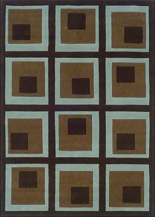 8' X 10' Area Rug Square Pattern In Chocolate And Spa Blue