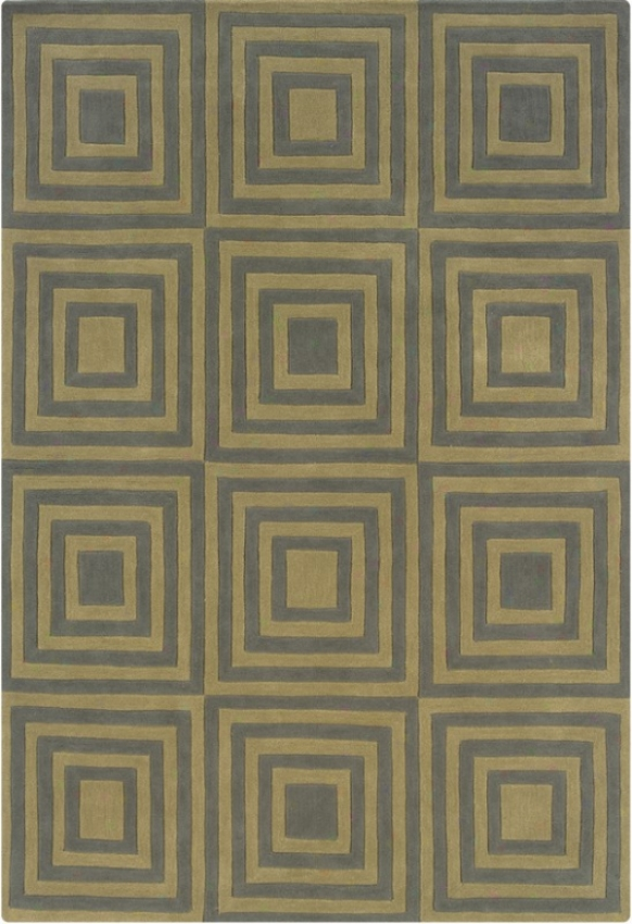 8' X 10' Area Rug Square Pattern In Smoke And Wasabi