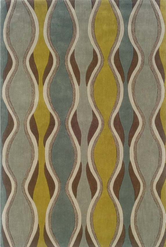 8' X 10' Area Rug Wave Pattern In Chocolatr And Spa Blue