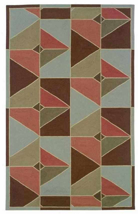 8' X 10' Indoor Outdoor Rug - Contemporary Hand Hooked Rug In Chocolat And Apricoot Color