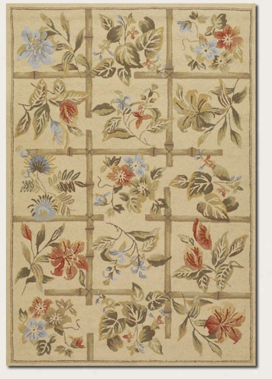 8' X 11' Area Rug Climber Floral Imitate In Sand Color