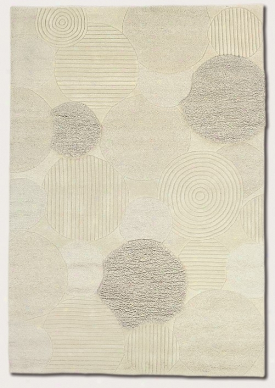 8' X 11' Area Rug Hand Crafted Circles Pattern In White