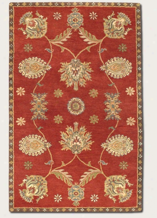 8' X 11' Area Rug Hand-craftec Large Persian Pattern In Red