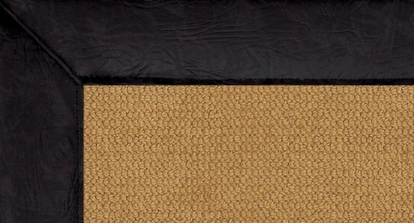 8' X 11' Bark of the Wool Rug - Athena Hand Tufted Rug With Negro Leather Border