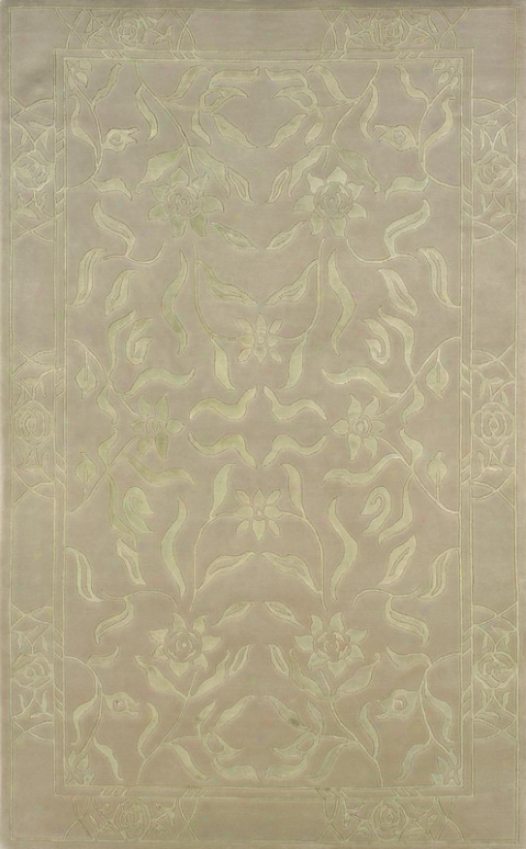 8' X 11' Hand Kntted Area Rug Flowers Pa5rern In Dim Green