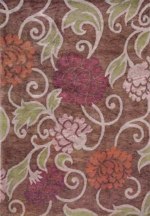 8' X 11' Hand-knotted Wool Rug Essential Nature Collage Art Brown Beige Color